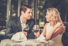 Cheerful couple in a restaurant Stock Photos