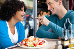 Cheerful couple in restaurant Royalty Free Stock Images