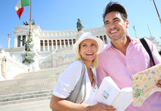 Cheerful couple in Rome Royalty Free Stock Photography