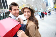 Cheerful couple shopping in new york Stock Photo