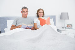 Cheerful couple sitting in bed reading books Stock Photo