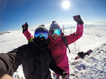 Cheerful couple on skiing Royalty Free Stock Photos
