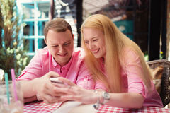 Cheerful couple surfing the web Royalty Free Stock Photo