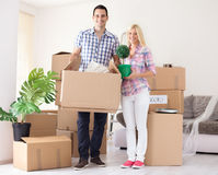 Cheerful couple their new home Royalty Free Stock Photos