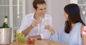 Cheerful couple toasting champagne Stock Images