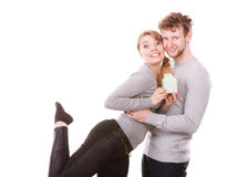 Cheerful couple together with building model Stock Photo