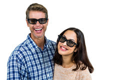 Cheerful couple wearing sunglasses Stock Photos