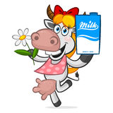 Cheerful cow holding carton of milk Royalty Free Stock Photo