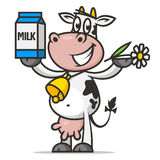 Cheerful cow holds flower and packaging milk Stock Image