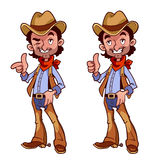 Cheerful cowboy with a finger up. On a white background Stock Images