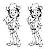 Cheerful cowboy. Outline. Royalty Free Stock Photos