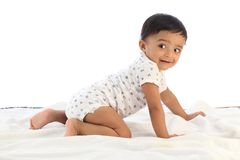Cheerful crawling baby. Against white background stock image