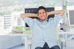 Cheerful creative business employee resting Royalty Free Stock Image