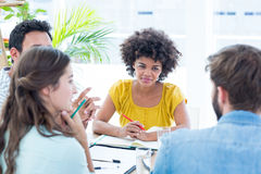 Cheerful creative business team in meeting Royalty Free Stock Photo