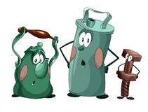Cheerful crockery clipart cartoon style  illustration whit Stock Images