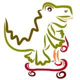 A cheerful crocodile rushes on a scooter, sports and funny animals.  vector illustration