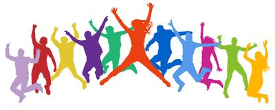 Cheerful crowd jumping people. Friends leap, bounce young teenagers, trampoline. Happy youth company. Multicolor vector silhouette vector illustration