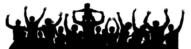 Cheerful crowd people silhouette. Child sits on the neck of a man. Applause people hands up. Vector Illustration party celebrating.  royalty free illustration