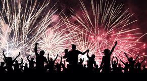 Cheerful crowd of people watching a salute, firework. Celebration, feast, holiday. vector illustration