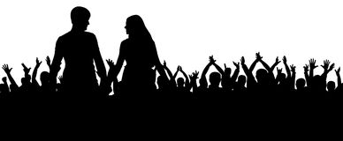 Cheerful crowd silhouette. Party people, applaud. Fans dance concert, disco.Young couple at a party. Stock Photos