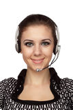 Cheerful customer service operator. Closeup of cheerful customer service operator with headset over white Stock Photos