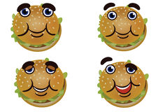 Cheerful cute burger. Stock Images