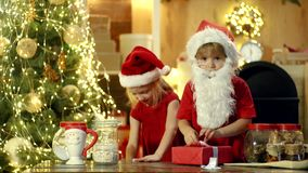 Cheerful cute children opening a Christmas present. Two Happy children daughter and son or sister and brother with. Christmas gift. Happy kid having fun with stock video