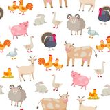 Cheerful cute farm animals seamless pattern. Domestic animals cartoon characters isolated on white background in flat royalty free illustration