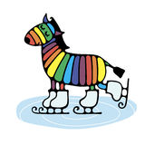 Cheerful cute rainbow zebra skating. Bright cheerful stylized zebra skate on the ice to draw a simple pattern for embroidery, applique, or element of design Royalty Free Stock Images