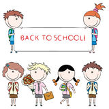 Cheerful cute school kids Royalty Free Stock Image