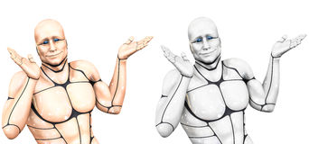 Cheerful cyborg man spreads his hands. 3d rendering illustration Royalty Free Stock Images