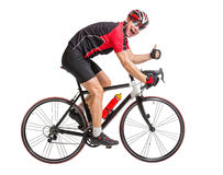 Cheerful cyclist with winning gesture Royalty Free Stock Photos