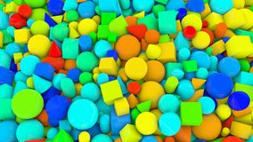 Different Shape and Rainbow Color Backdrop. A cheerful 3d illustration of diverse shape and color figures background from bright big and small green, yellow royalty free illustration