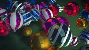Happy New Year Shining Balls. A cheerful 3d illustration of gleaming glass balls for a Christmas fir tree. They lie on a green floor and look splendid. They are Royalty Free Stock Photography