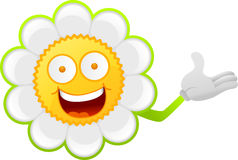 Cheerful daisy character Royalty Free Stock Photo