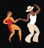 Cheerful dance salsa. Lady and gentleman dance Latin America dance salsa Royalty Free Stock Photography