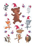 Cheerful dancing animals. Cheerful woodland animals in cartoon style. Christmas illustrations isolated on a white background. Vector set royalty free illustration