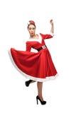 Cheerful dancing retro girl Stock Image