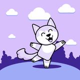 Dancing wolf on the lawn. A cheerful dancing wolf on a glade of purple hue Royalty Free Stock Photos