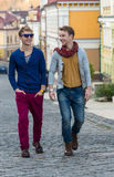 Cheerful day of twin brothers. Two stylish and handsome adult tw Stock Photography