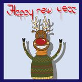 Cheerful deer pullover with greetings Happy New Year.  Stock Images