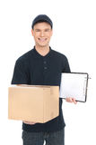 Cheerful deliveryman. Royalty Free Stock Images