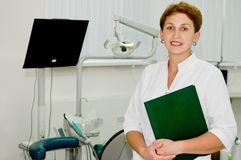 Cheerful dentist at clinic Royalty Free Stock Photo