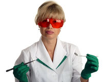 Cheerful dentist in uniform Royalty Free Stock Image