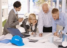 Cheerful designer team at work Stock Photo