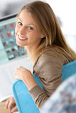 Cheerful designer working on computer Royalty Free Stock Image
