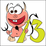 Cheerful devil with the number thirteen Royalty Free Stock Photos