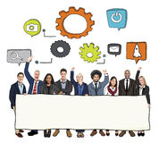 Cheerful Diverse Business People and Copy Space Stock Images