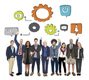 Cheerful Diverse Business People and Symbols Photo and Illustration Stock Photography