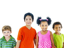 Cheerful Diverse Kids Holding Hand Royalty Free Stock Photography